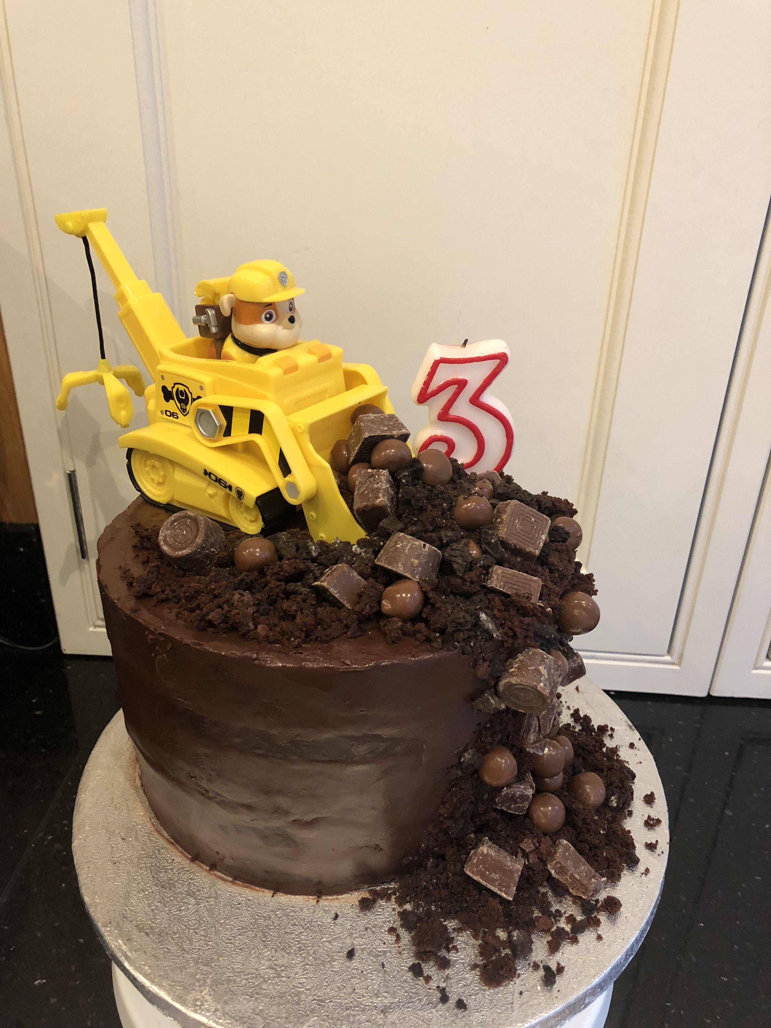 Awe Inspiring 3Rd Birthday Cake Chocolate Salted Caramel Paw Patrol Rubble Personalised Birthday Cards Beptaeletsinfo