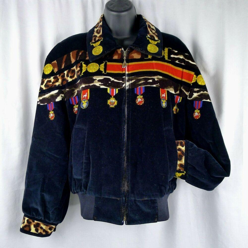 Ladies Vintage Escada Margaretha Ley Velour Jacket Medals Valour For Glamour 36 Escada Bomb Velour Jackets Blazer Jackets For Women Vintage Clothing For Sale