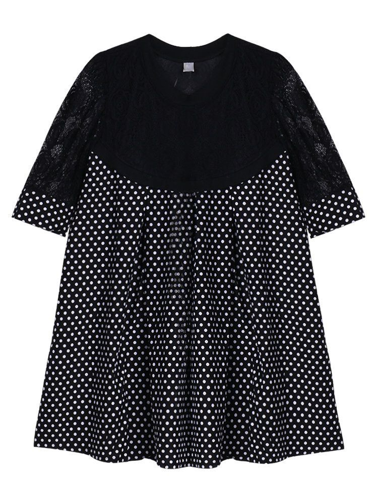 Elegant Lace Dots Patchwork Pleated Mini Dress Short Sleeve For Women