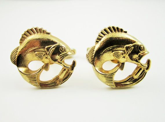 Vintage Cufflinks Fish Fishing Cuff Links by LadyandLibrarian, $45.00 #cufflinks #fishing #ladyandlibrarian