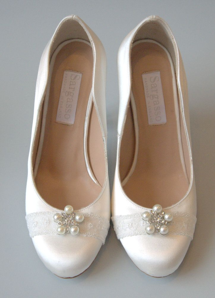 Custom Made Wide Fit Wedding Shoes Handmade In England White Satin With Lace And Crystal Bead Detail