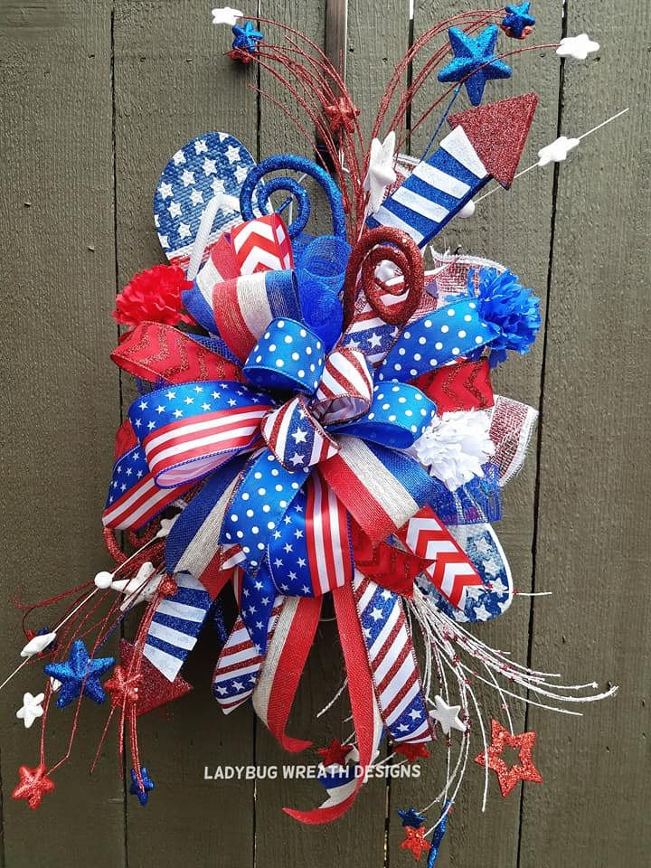 4th Of July Door Hanger Circle