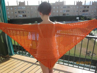 El rincón de mis labores: Chal naranja ganchillo