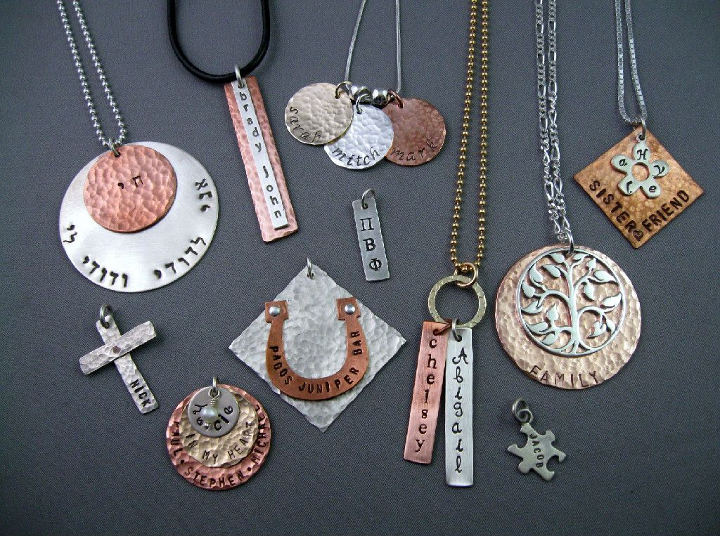 Personalized hammered metal jewelry learn how to make this for Learn to draw jewelry