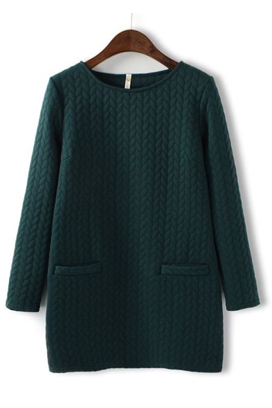 Embossing Round Collar Cotton-padded Dress