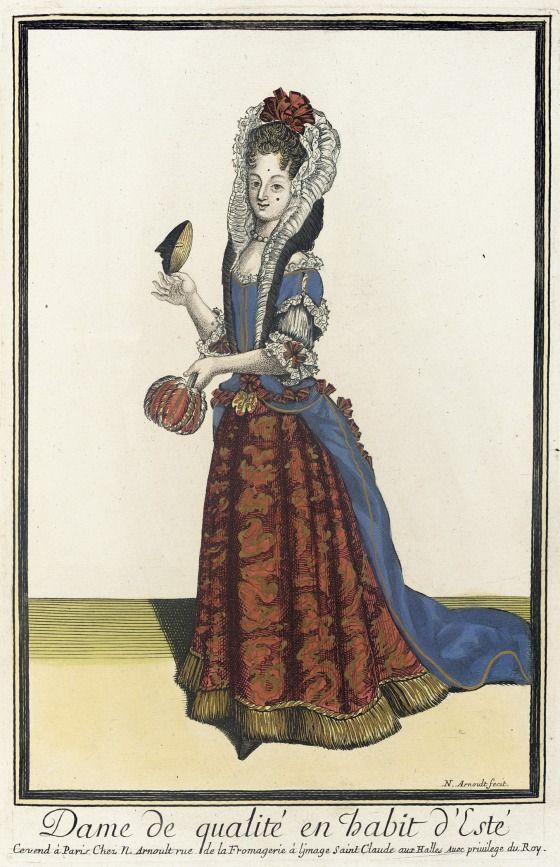 Recueil Des Modes De La Cour De France Dame De Qualite En Habit D Este Fashion Illustration Vintage Fashion Plates Baroque Fashion