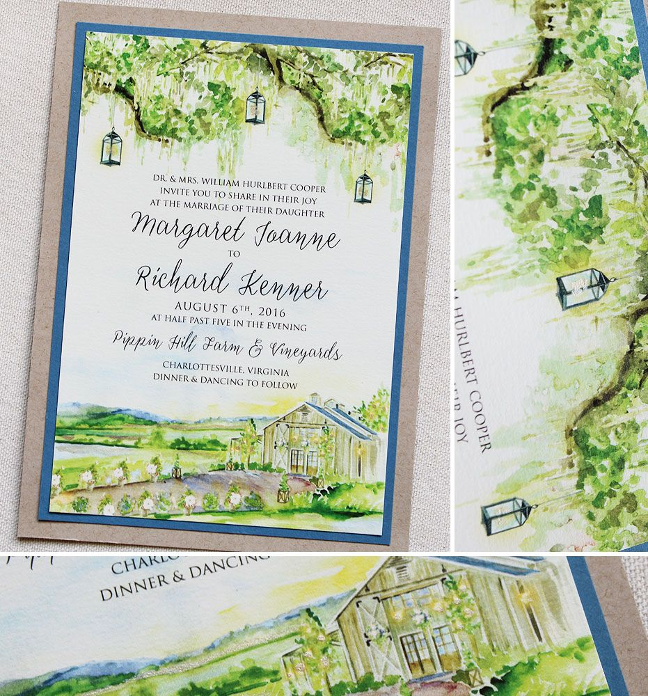 Maggie C Watercolor Landscape Wedding Invitations