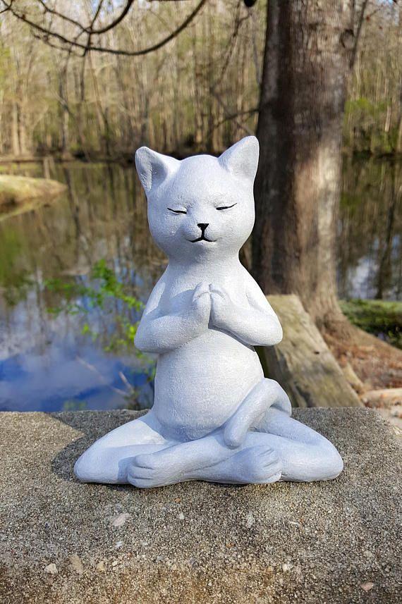 Yoga Cat Garden Decor Buddha Cat Garden Statue Meditating Etsy