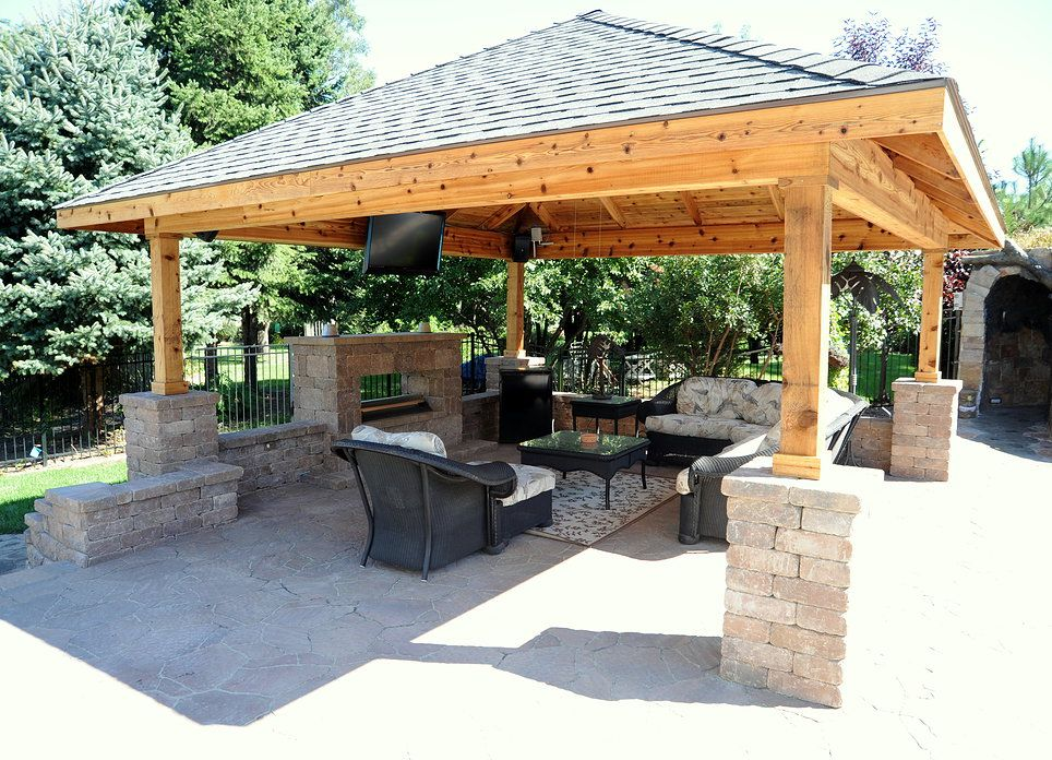 Back yard pavillions with bar custom pavilion contractor for Plans for gazebo with fireplace