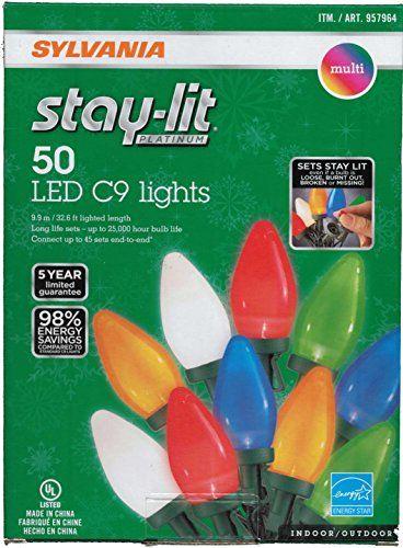 1091 sylvania stay lit platinum multicolor led c 9 indooroutdoor holiday lights 50 lights per string httpbitly2deshdb - Sylvania Led Christmas Lights