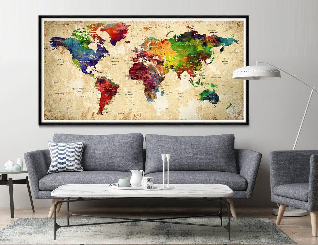 Highly detailed world map art world map wall art world