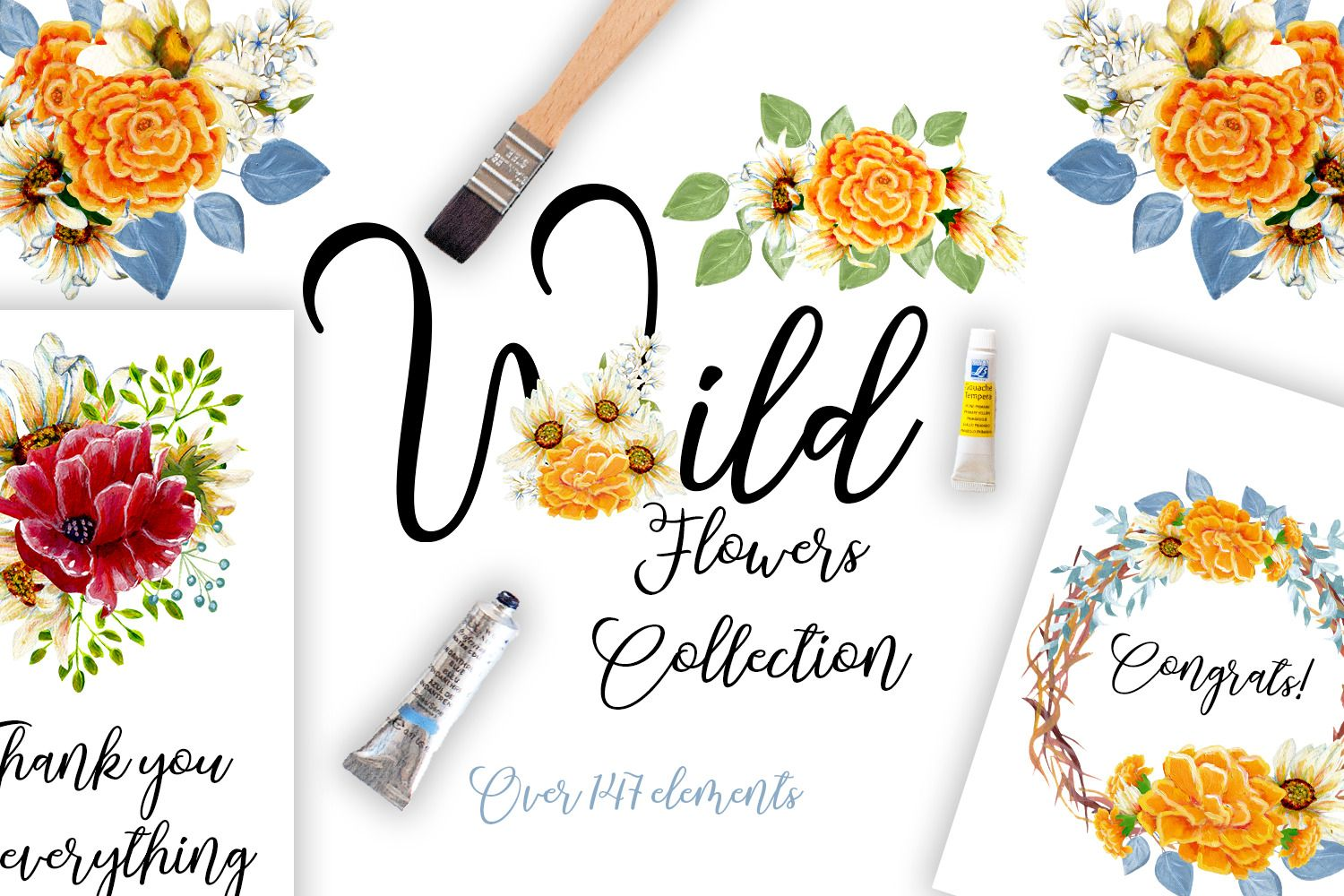 Photo of Wild Flowers Collection in Illustrations on Yellow Images Creative Store