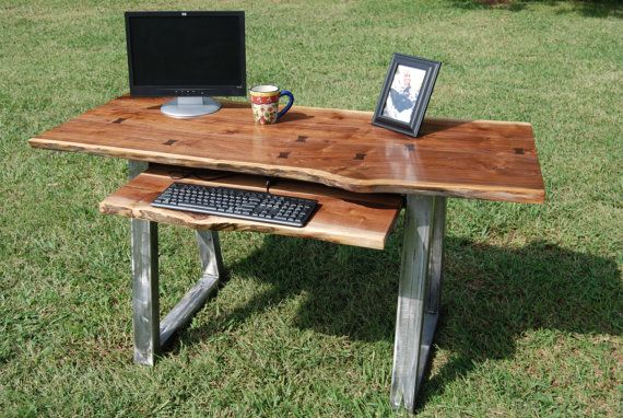 Walnut Live Edge Desk Set With Steel Legs And Chair Slab