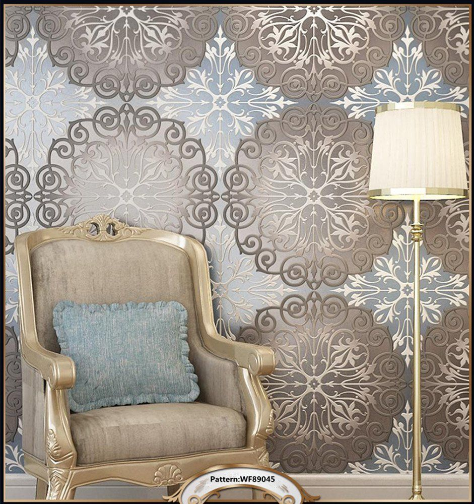 Blooming Wall Extra Thick Non Woven 3d Modern European Flocking Embossed Pattern Wall Mural Wallpaper Wall Pa Home Wallpaper Textured Wallpaper Wall Coverings