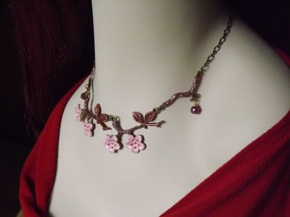 Cherry Blossom Pink Nature Necklace in Marsala, Pink w/ Ruby. Visit my Etsy shop here: https://www.etsy.com/shop/RenesJewelryArt?ref=hdr_shop_menu