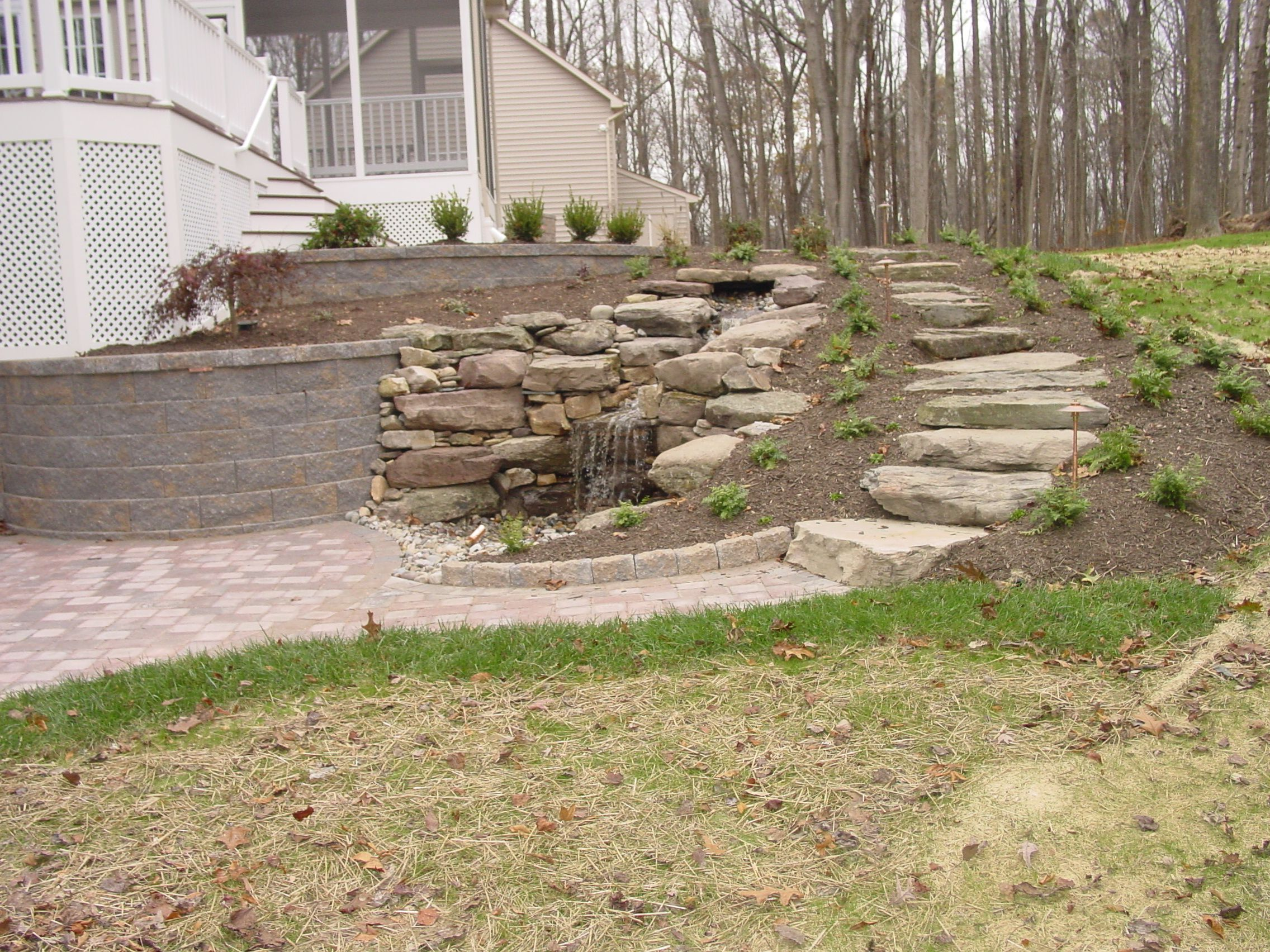 Landscaping For A Steep Walk Out Basement Yard Google Search Hillside Landscaping Backyard Landscaping Backyard Landscaping Plans