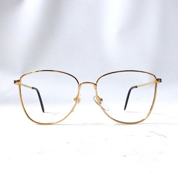 vintage 1980's round eyeglasses prescription gold metal wire frames eye glasses mid century modern retro mens womens deadstock NOS winnie
