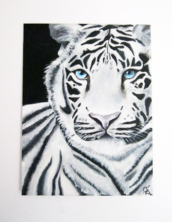 SALE! Exclusive White Tiger Acrylic Painting. Size ...