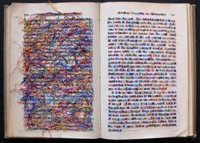 Lauren DiCioccio cross-stitched books