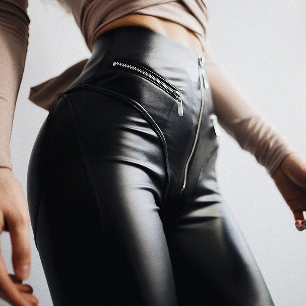f3cedb5966903 Women Zip Pocket Elastic High Waist Solid Pants Leather Capris Pencil  Trousers