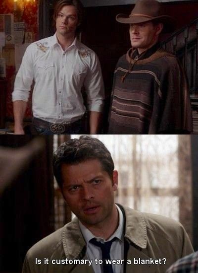 Castiel asking Sam and Dean is it Customary to wear a Blanket   Supernatural