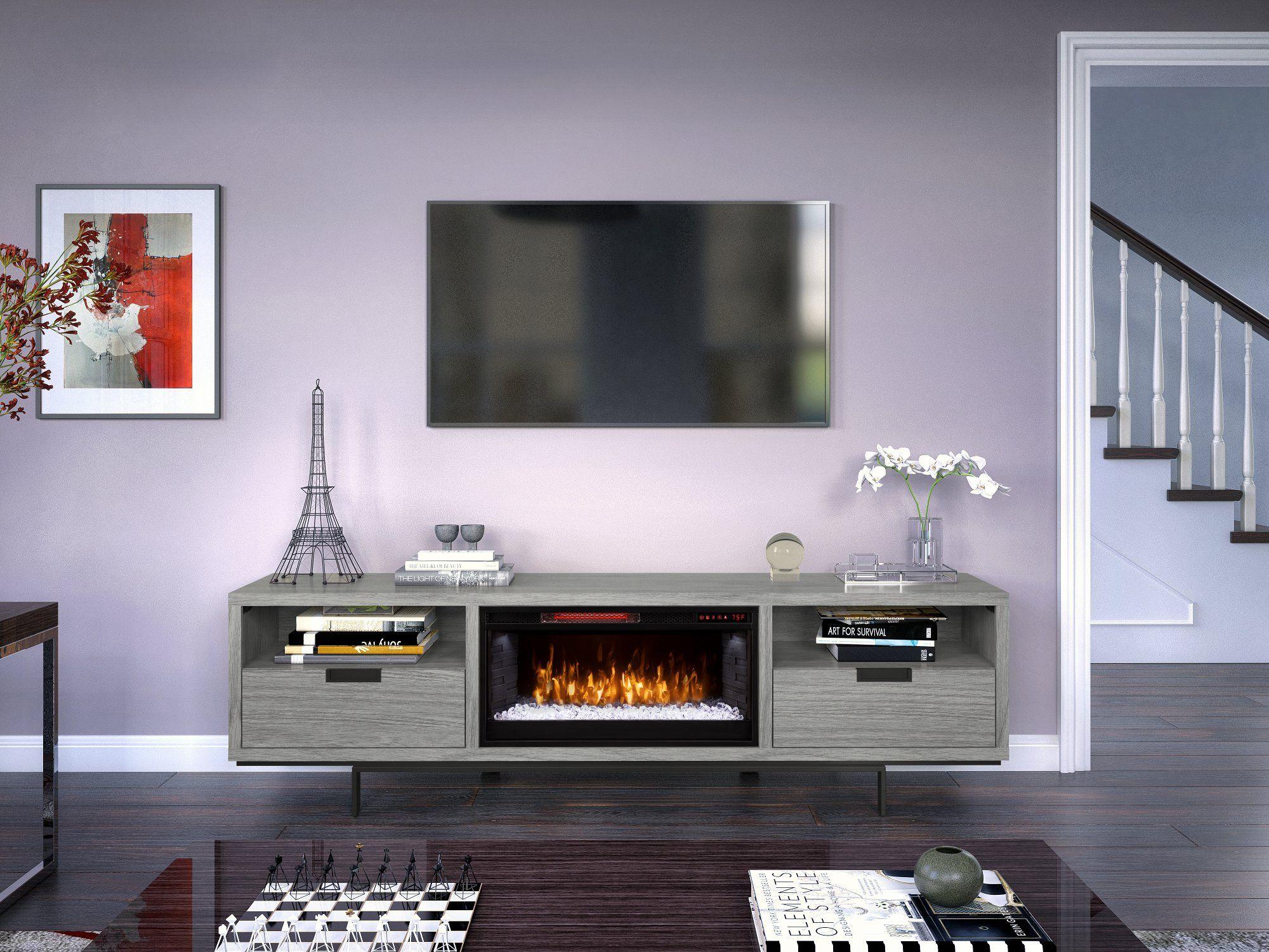 78 Inch Modern Gray Fireplace Tv Stand Wynwood Fireplace Tv