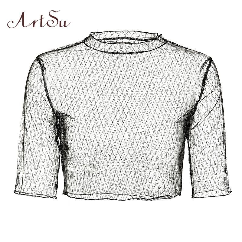 0555fb88d6f5 ArtSu Sexy Transparent Mesh Cropped Blouses Diamonds Shirt 2018 Summer Women  Sequin Club Party Blouses Crop Top Blusas ASBL30155.