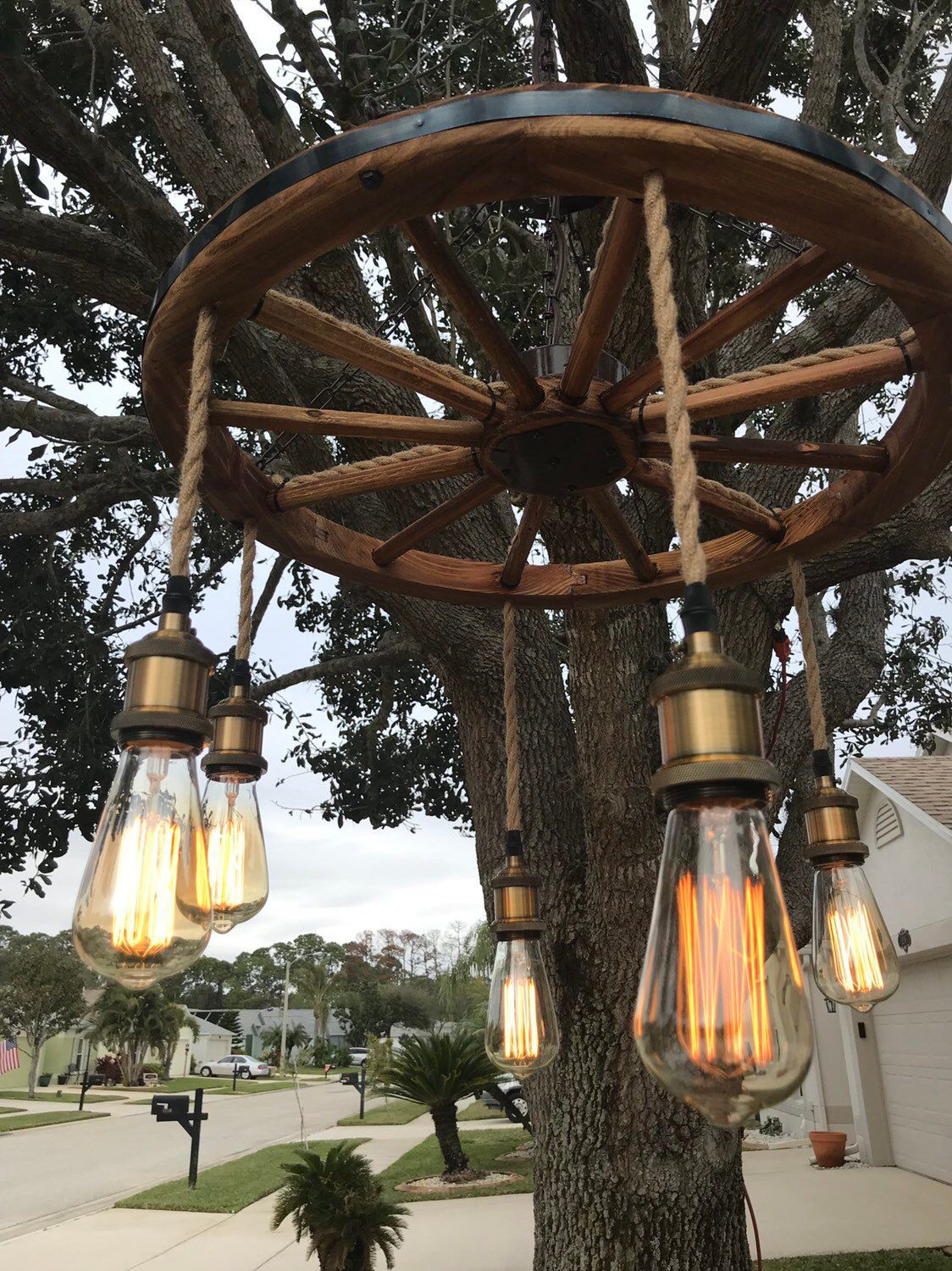 Wagon Wheel Chandelier with vintage bulbs Brown Chain