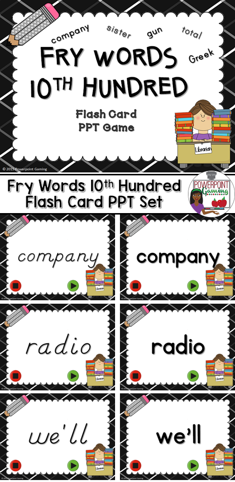 Fry Words 10th 100 Words Flash Card Set 100 words