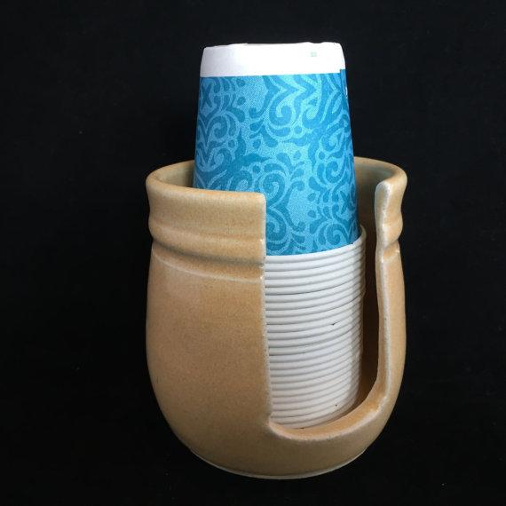 Ceramic Bathroom Cup Holder Disposable Dispenser Paper In Bone