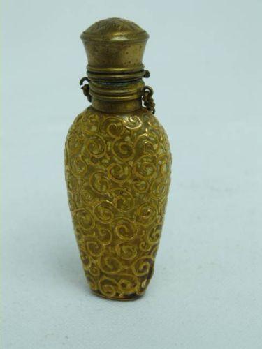 Vintage Glass Brass Gilt Overlay Ladies Chatelaine Perfume Bottle   eBay