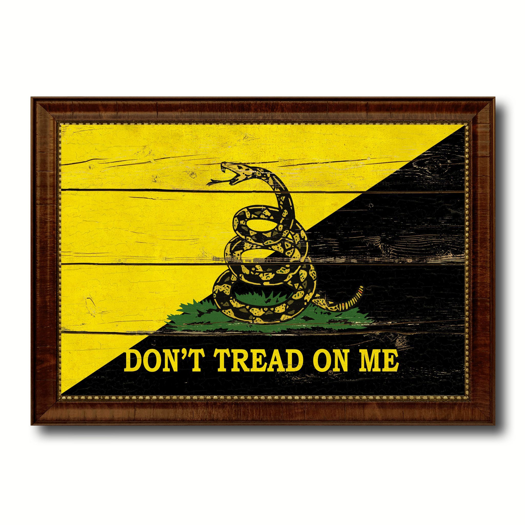 Gadsden Don T Tread On Me Military Vintage Flag Brown Picture Frame Gifts Ideas Home Decor Wall Art Brown Picture Frames Wall Art Decor Vintage Canvas