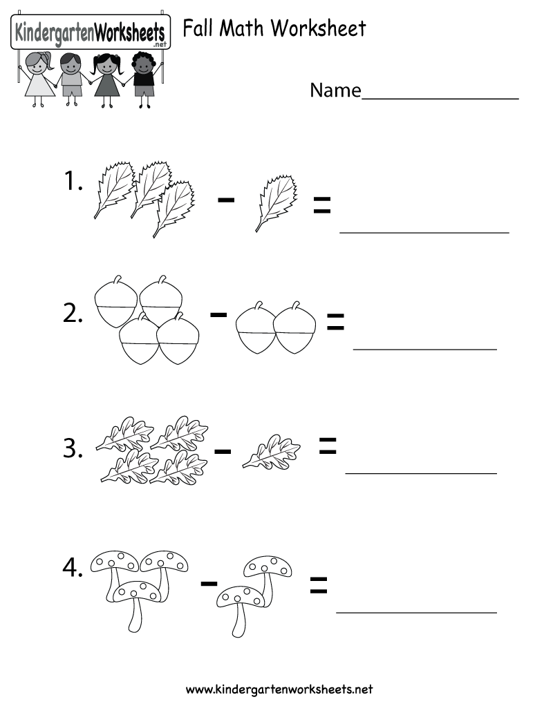 worksheet Free Fall Problems Worksheet kindergarten fall math worksheet printable worksheets and printable