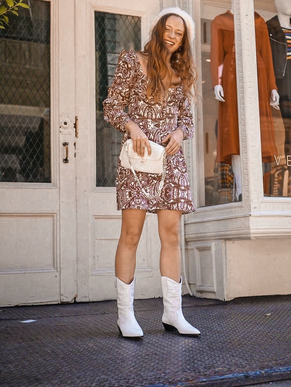 white cowboy boots look ~insta