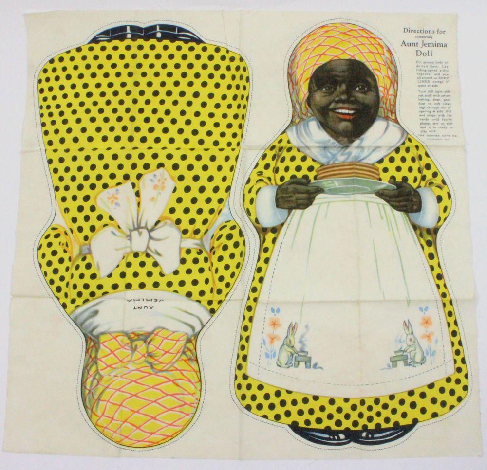 Quaker Oats Uncut Aunt Jemima Cloth Doll, 1929