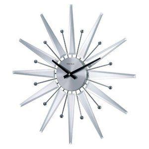 George Nelson Mirrored Sunburst 19.38 Inch Wall Clock-Danish Modern