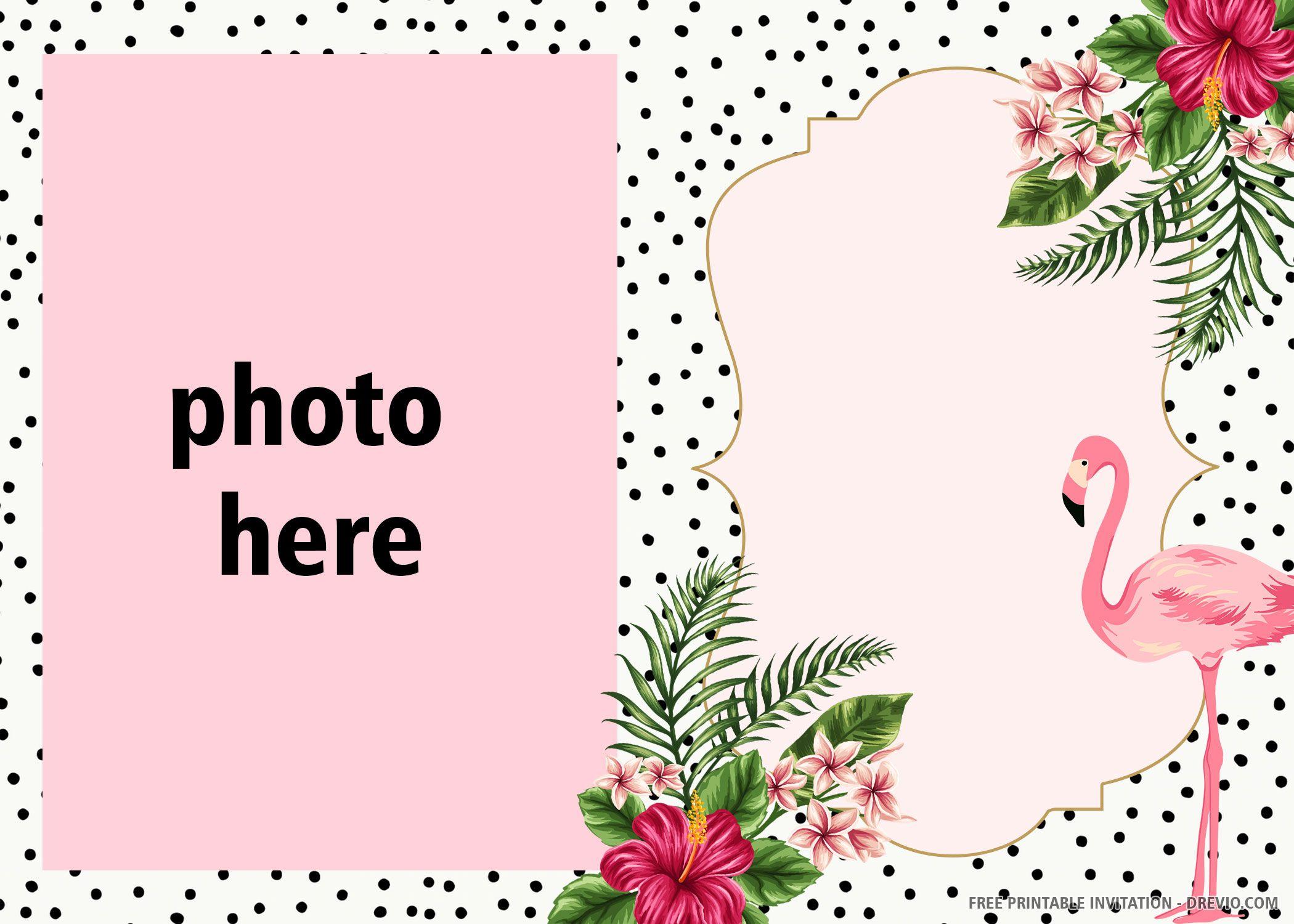 free printable pink flamingo invitation