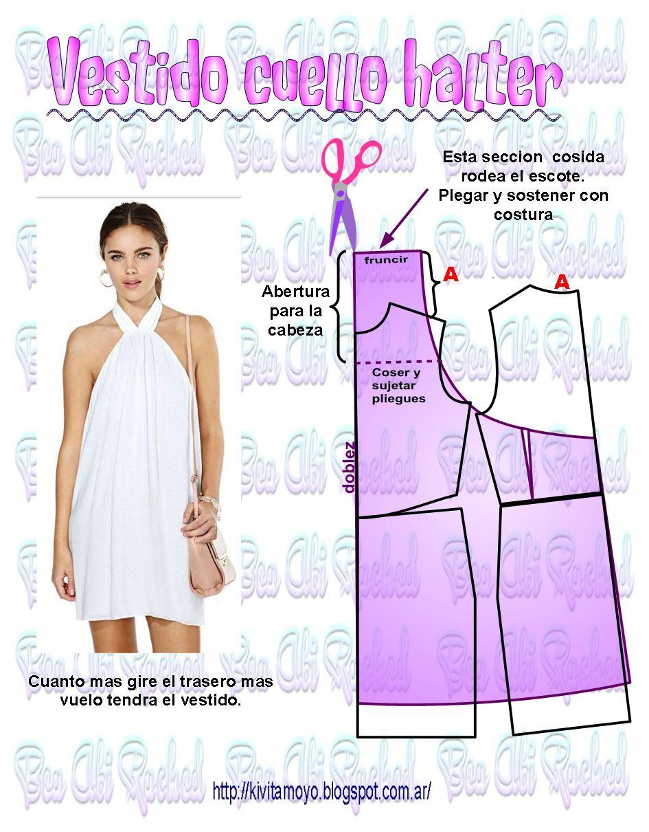 KiVita MoYo: Vestido Cuello Halter | moldes | Pinterest | Vestidos ...