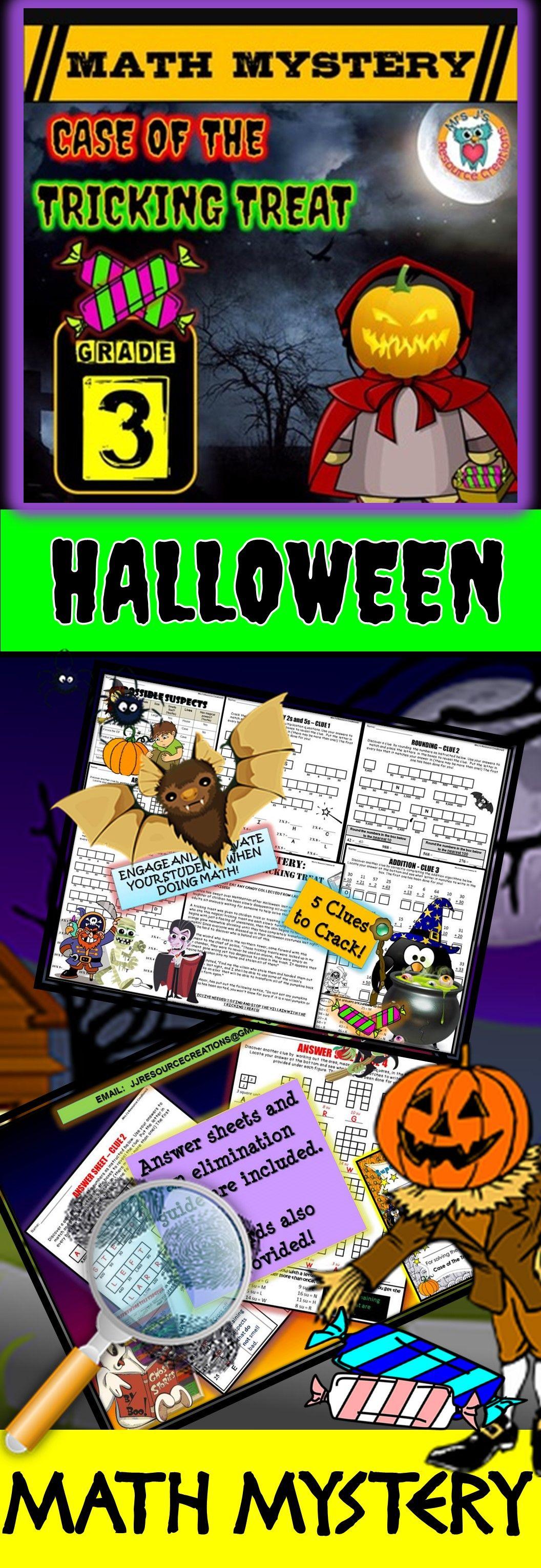 3rd Grade Halloween Math Activity Halloween Math Mystery
