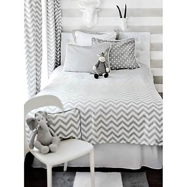 Zig Zag Gray Kid's Bedding Set