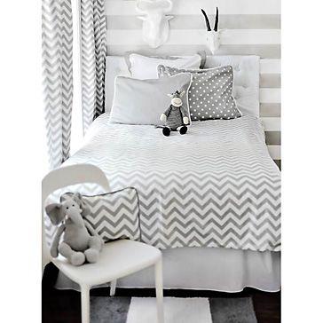 Zig Zag Gray Kid's Bedding Set