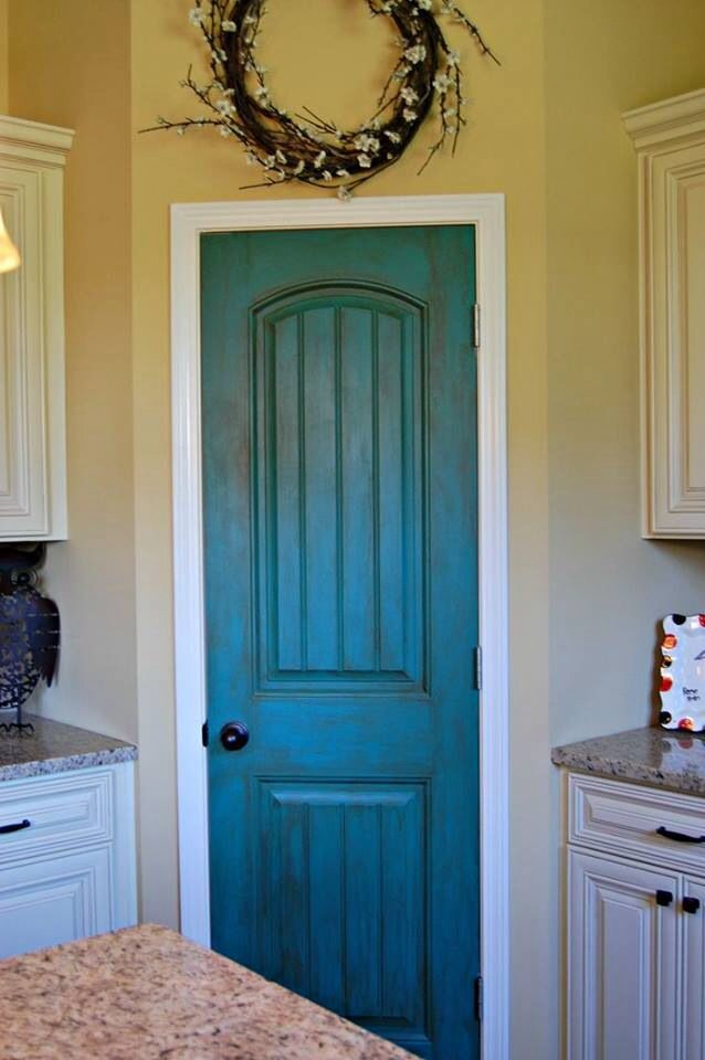 Turquoise Dry Brush Diy Pantry Door Great Way To Add A Bit Of Color To Your Kitchen