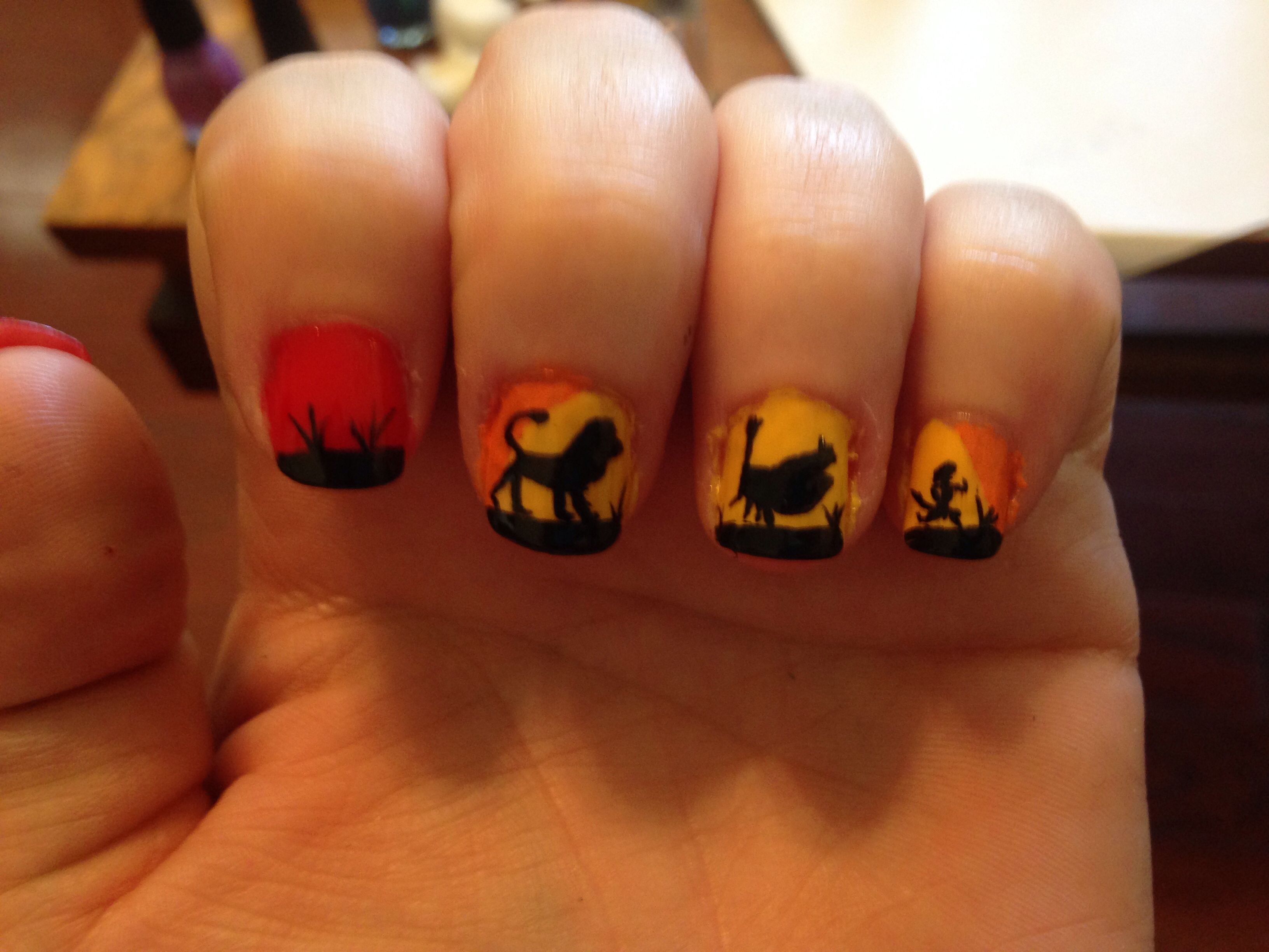 The Lion King nail art!! Totally my most favoritest Disney movie ...