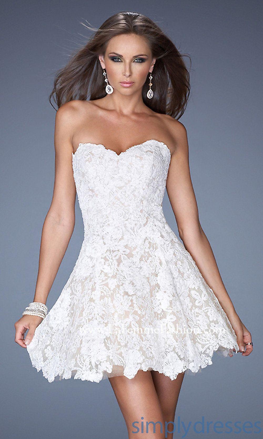 Short Sweetheart Lace Dress by La Femme 19160