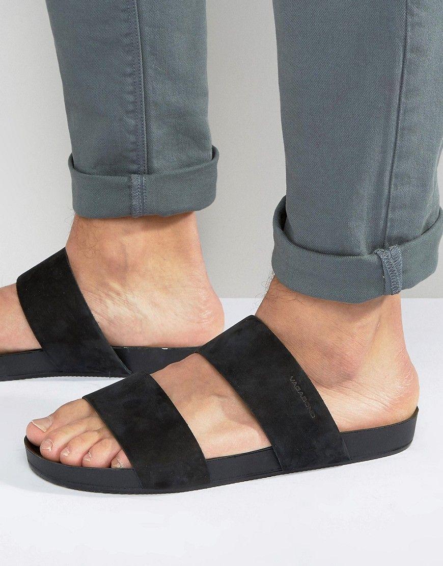 b2ff011631 Vagabond Funk Double Strap Slip On Sandals - Black