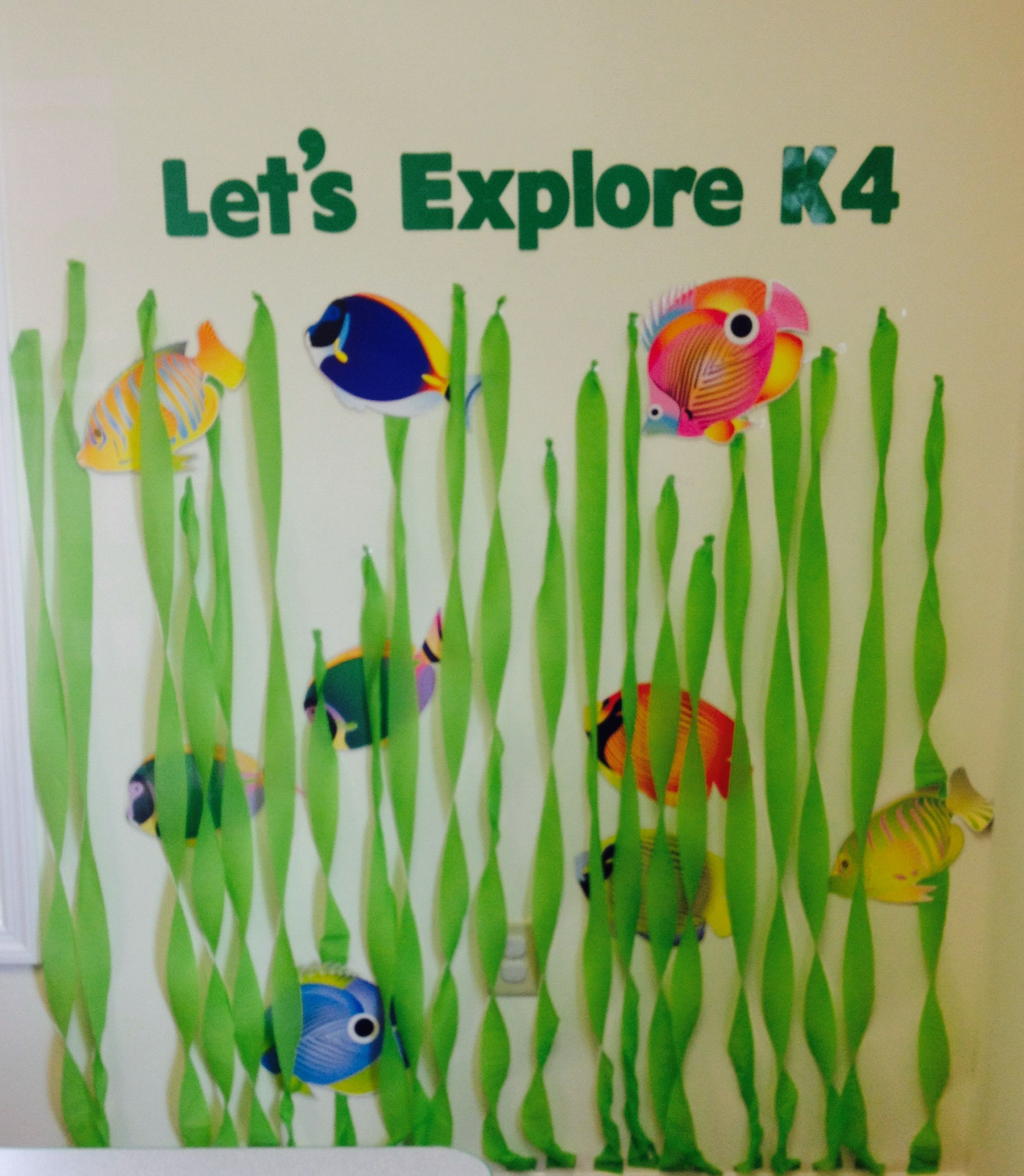 Under the sea ocean fish themed preschool classroom decorations bulletin board ideas.