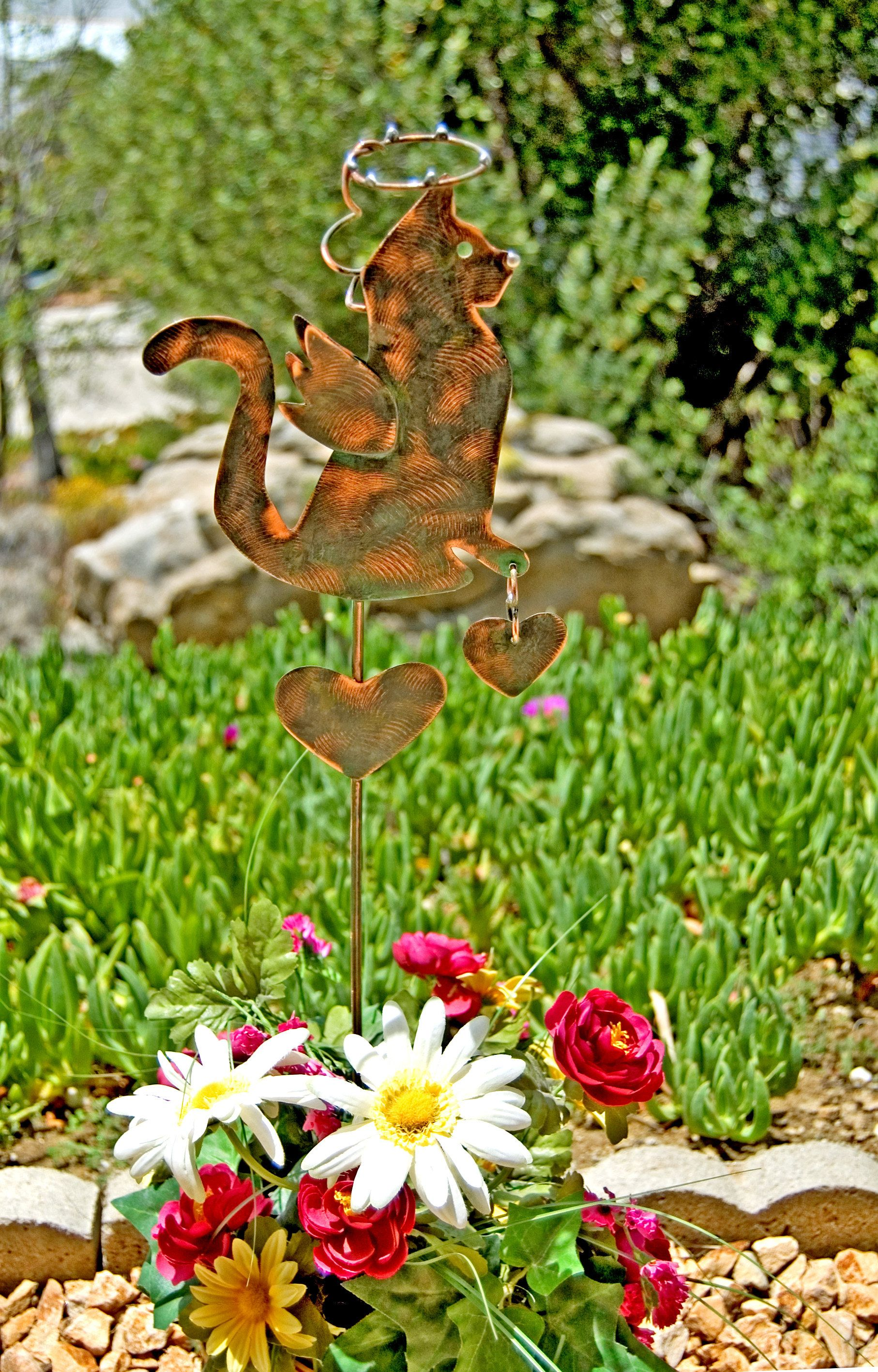 Cat Angel Grave Marker Garden Stake / Yard Art / Metal Garden Art / Copper  Garden