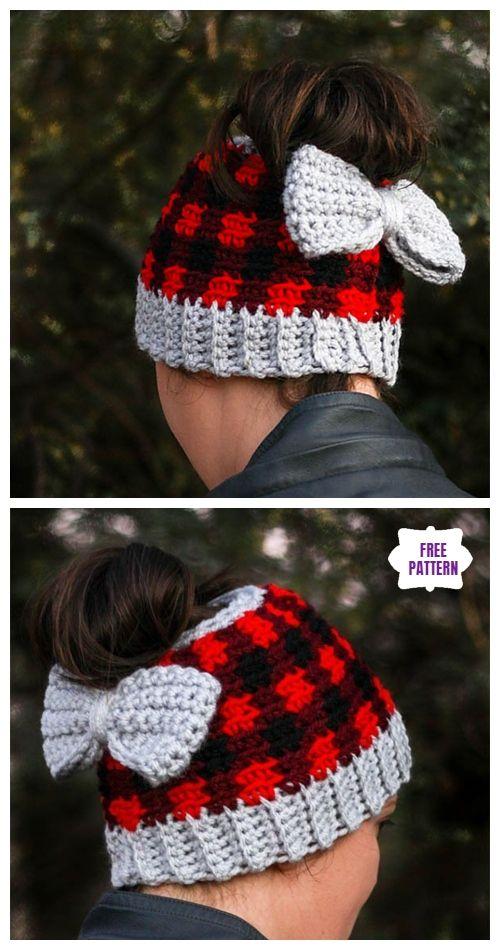 Crochet Plaid Messy Bun Hat Free Crochet Patterns