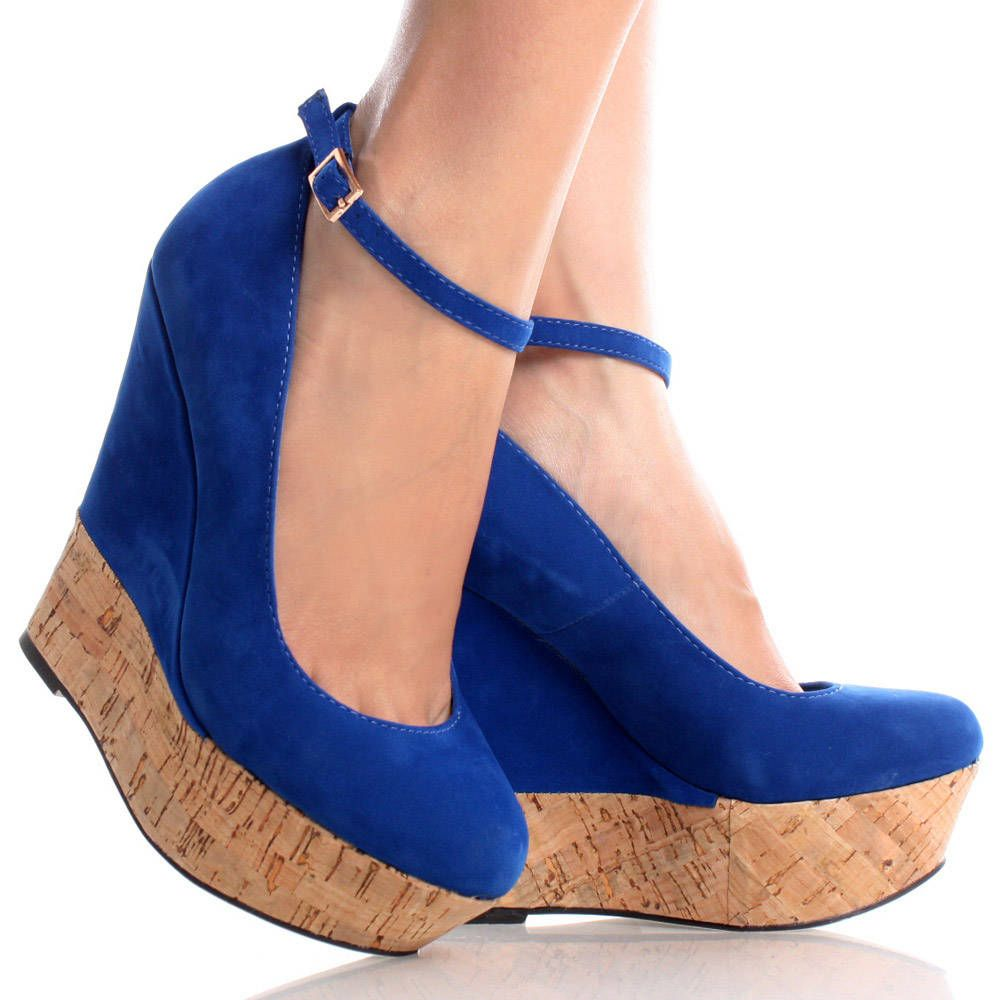 ab3eb413e1b Blue-Suede Removable Ankle Strap Womens High Heel Platform Wedge ...