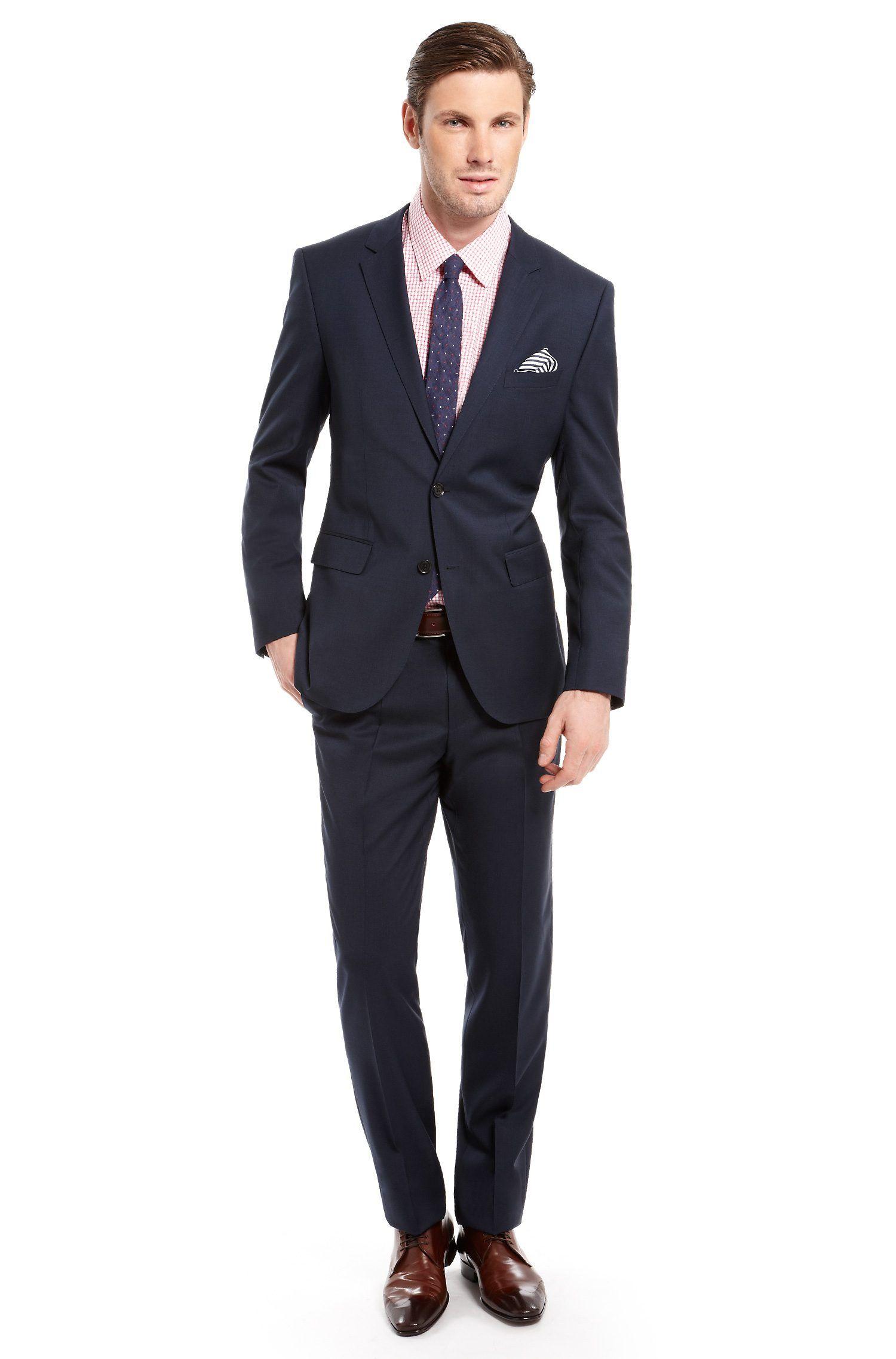 1a6ffff8 Navy Hugo Boss. BOSS Black Suit, Modern Fit Virgin Wool 'The Keys9/Shaft2'  by BOSS Black Model The Keys9/Shaft2 50241622 Navy